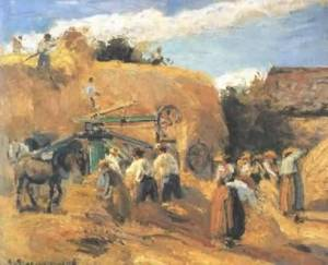 Camille-Pissarro-The-Threshing-Machine-