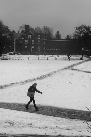 Going to class in the snow.