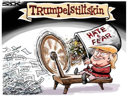 Trump spinning hate